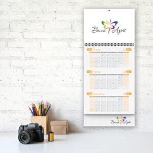 Календари квартальные 1 пружина 1 блок 1 рекламное поле